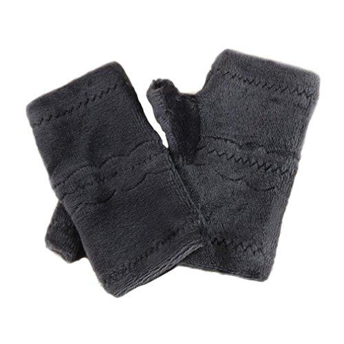 Winter Autumn Thick Warm Gloves Keyboard Leak Finger Gloves Gray - 9