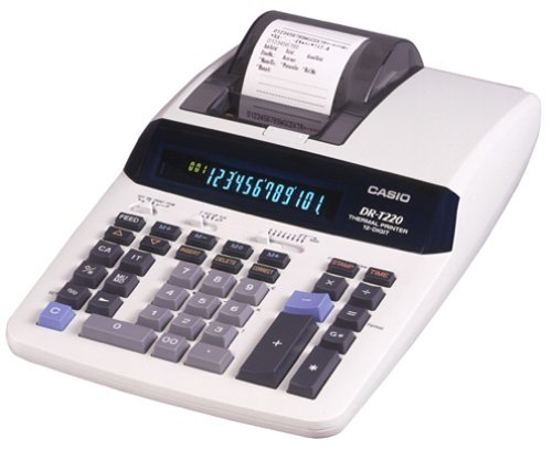 Casio DR-T220 Desktop Calculator with Thermal Printer and Large Display