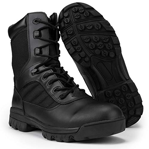RYNO GEAR 8 Tactical Combat Boots with Coolmax Lining (Black) (10)