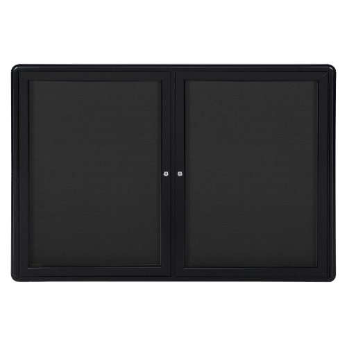 34''x47'' 2-Door Ovation Bulletin Board, Black Fabric, Black Frame by Ghent