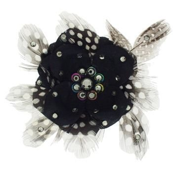 Tarina Tarantino - Fashion Couture - Iconic Collection - Swarovski Crystal Small Poppy Flower & Feather Anywhere Hair Clip - Black Diamond - Tarantino Feather Tarina