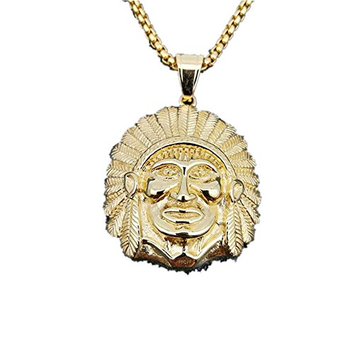 MCSAYS Hip Hop Jewelry Indian Chief Pendant Stainless Steel Cool Retro Necklace (Gold) by MCSAYS