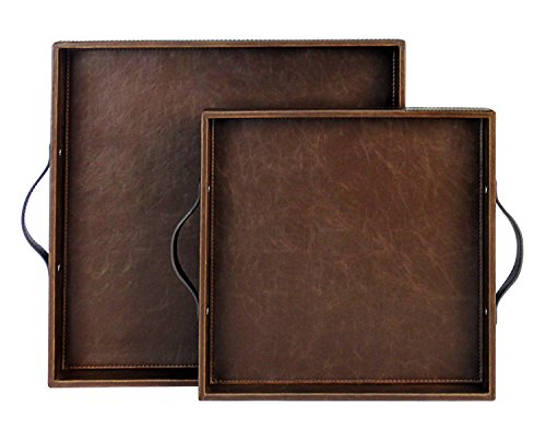 Set of 2 Square Serving Tray with Handles, Coffee Tray, Wood Structue Butler Tray, Brown, S: 12 x 12 x 1.77 inches, L: 15 x 15 x 1.97 inches