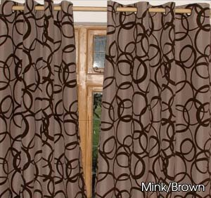 Chocolate Brown Silver With Black Velvet Circles EYELET FAUX SILK CURTAINS    58u0026quot; ...