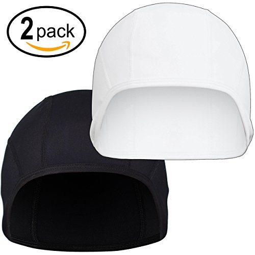 Skull Cap Beanie - Quick Drying Under Helmet Liner for Women and Men - Best for Bicycle, Motorcycle, Hiking, Running, Snowboarding, Skiing (2Pack, 1 Black & 1 - Month Womens Cancer Cap