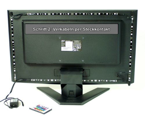 usb led streifen cadrim 4 x 50cm farbwechsel tv hintergrund monitor beleuchtung wasserdicht 2m. Black Bedroom Furniture Sets. Home Design Ideas