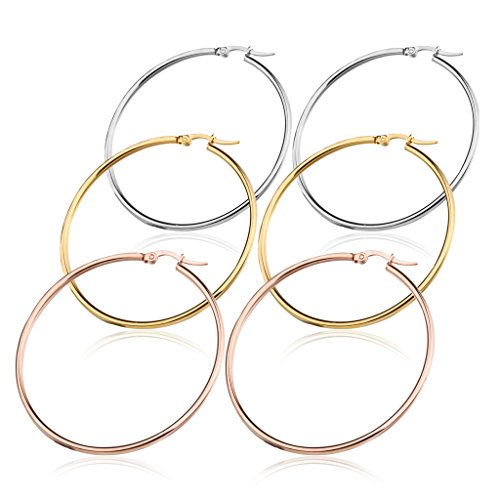 FIBO STEEL 3 Pairs Stainless Steel Large Hoop Earrings Set for Women 50mm