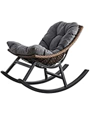 Iyom Rocking Chairs Nordic Balcony Rocking Chair Home Living Room Single Lounge Chair Adult Leisure Nap Lazy Sofa Rattan Chair Comfortable Sitting Position