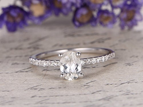 [White Sapphire Ring 14K White Gold 5x7mm Oval Cut White Sapphire Solitaire Ring SI I-J Diamond Pave Band Anniversary Ring] (Cut Five Diamond Band)
