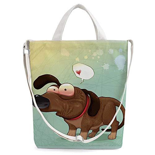 (Funny Fashion Women Canvas Tote Handbags,Puppy in Love Werner Dog Romance Confu)