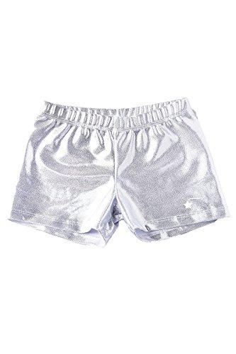 DESTIRA Silver Gymnastics Sport Shorts for Girls, Child L/Size 10 ()
