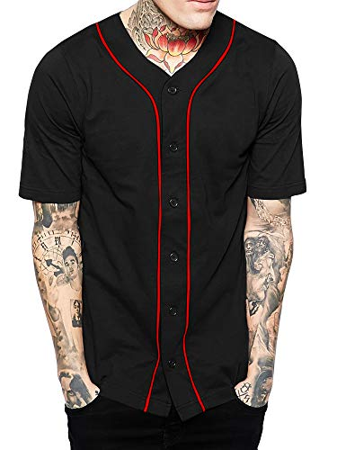 Hat and Beyond Mens Baseball Button Down Jersey Hipster Hip Hop T Shirts (01up01_Black/Red,Small) (Striped Baseball Jersey)
