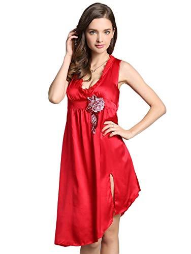 Irregular Ricamo Rot Abbigliamento Smanicato Pigiami Baggy neck Da Notte Estivi Corto Fiori Vestito Abito Vintage Moda Elegante Donna Casuale V Nightdress nRPqgn0w6