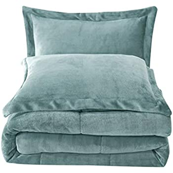 Chezmoi Collection 3-Piece Micromink Sherpa Reversible Down Alternative Comforter Set (Queen, Spa Blue)