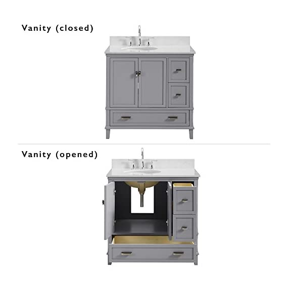 """Dorel Living Otum 36"""" Bathroom Vanity, Gray - Traditional designed 36"""" bathroom Vanity Perfect for your master bathroom, guest bathroom or powder room Crafted with solid wood, engineered wood and fine wood veneer - bathroom-vanities, bathroom-fixtures-hardware, bathroom - 414YDOcicSL. SS570  -"""