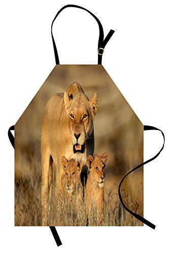 Ambesonne Safari Apron, Mom Lioness and Young Lion Kings in South African Nature Big Cats at Wilderness Safari Unisex Kitchen Bib Apron with Adjustable Neck for Cooking Baking Gardening, Cream