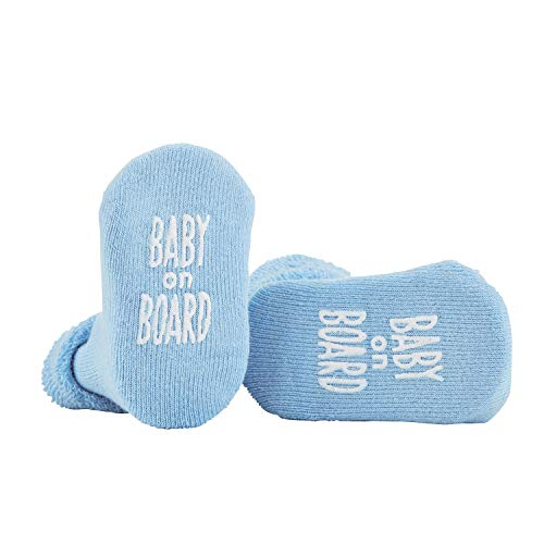 Stephan Baby Non-Skid Silly Socks with Cute Sayings, Blue Baby On Board, 3-12 -