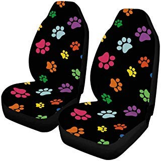 INTERESTPRINT Col Paw Prints Car Seat Cover Front Seats Only Full Set of 2, Entire Seat Protection, Car Front Seat Cushion for Pets Running Gym¡