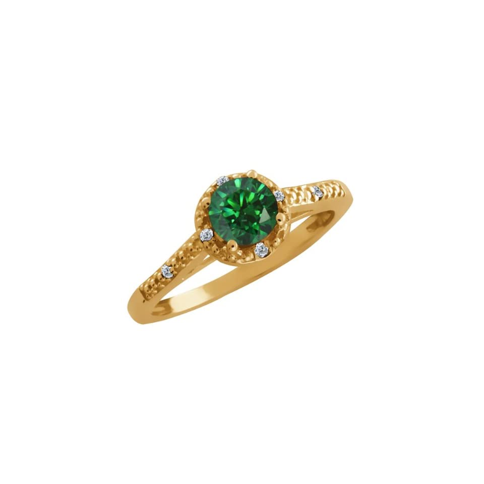 Carlo Bianca Green 14k Yellow Gold Ring Made With Swarovski Zirconia