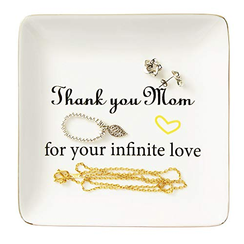 Ceramic Ring Dish, Mom Gifts Decorative Trinket Plate - Thank You Mom for Your Infinite Love