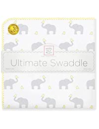 SwaddleDesigns Ultimate Receiving Blanket, Elephant & Chickies, Cheerful Yellow