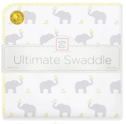 SwaddleDesigns Ultimate Swaddle, X-Large Receiving Blanket, Made in USA Premium Cotton Flannel, Elephant and Pastel Yellow Chickies (Mom's Choice Award Winner)