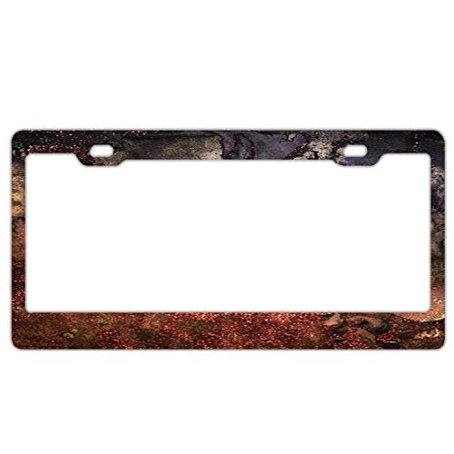 Glamour Gems - AdriK Copper Glitter Stone and Ink Abstract Gem Glamour Marble Metal Stainless Steel License Plate Frame