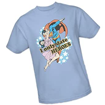 """I Only Date Heroes"" -- Superman -- DC Comics Adult T-Shirt, Small"