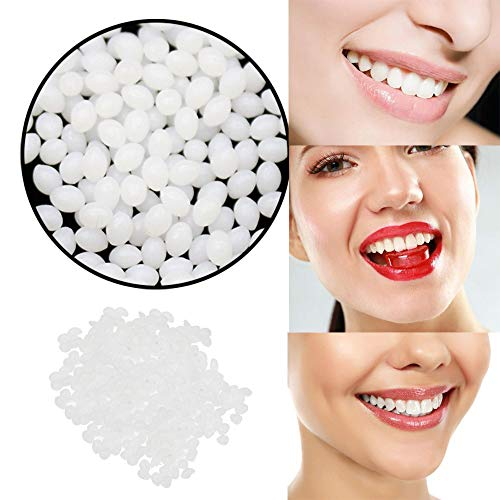 Smile Temporary Tooth Repair Kit Tooth Replacement Solid Gel Gaps False Teeth Solid Glue Denture Adhesive Beads for Fake Teeth Missing Tooth 15g (White)