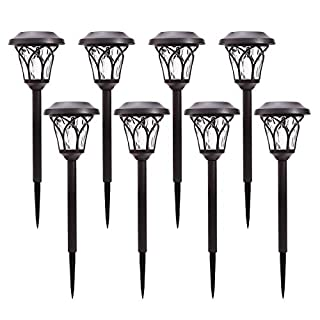 Azirier Solar Lights Outdoor Waterproof Security Lights Easy Install Garden Lights for Garden Path Walkway Light 8 Pack …