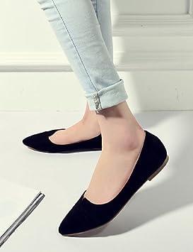PDX/Zapatos de mujer bailarinas de vestido/LÄSSIG de ante de plano tacón de