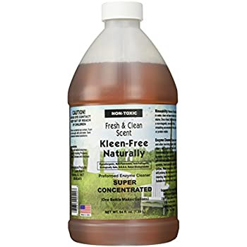 Kleen-Free Naturally Preformed Enzyme Cleaner (Fresh and Clean Scent, 64-Ounce Concentrate)