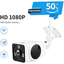 FREDI HD Wifi Wireless 1080P Bullet IP Security Surveillance Waterproof Camera Night Vision Motion Detection At/Leaving Home Surveillance Camera for Outdoor Home & Business,Up to 128G SD(not include)