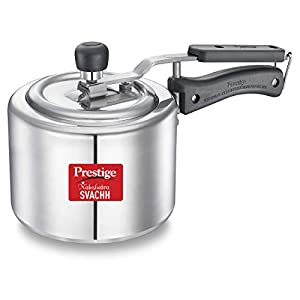 Prestige Svachh, 10729, 2 L, Straight Wall Aluminium Pressure Cooker, with deep lid for Spillage Control