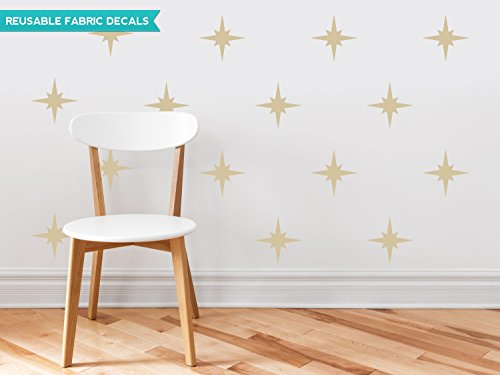 Sunny Decals Retro Stars Fabric Wall Decals (Set of 22), Beige (Decal Polyester Shape)