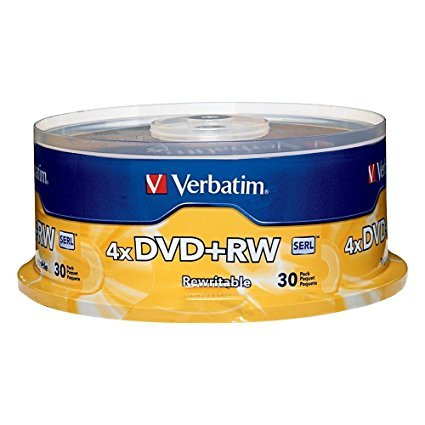 Verbatim 4.7GB 1x- 4x ReWritable Disc DVD plus RW, 30 Disc Spindle 3-PacK by Verbatim