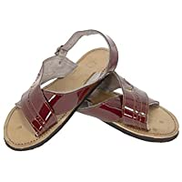 31c6119eb870 Men s Cognac Red All Real Leather Mexican Huaraches Buckle Sandals Open Toe