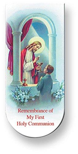 Communion Bookmark Laminated (COMMUNION PRAYER BOY MAGNETIC BOOKMARK - 10 Per Pack)