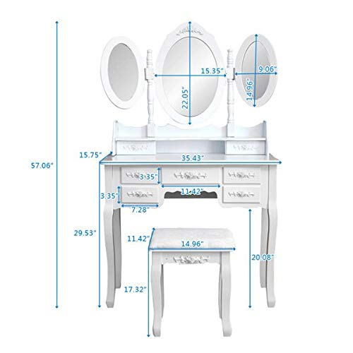 Famgizmo Vanity Makeup Table with 7 Drawers, Dressing Table with Foldable 3 Mirrors, Detachable Vanity Table with Cushioned Stool – White