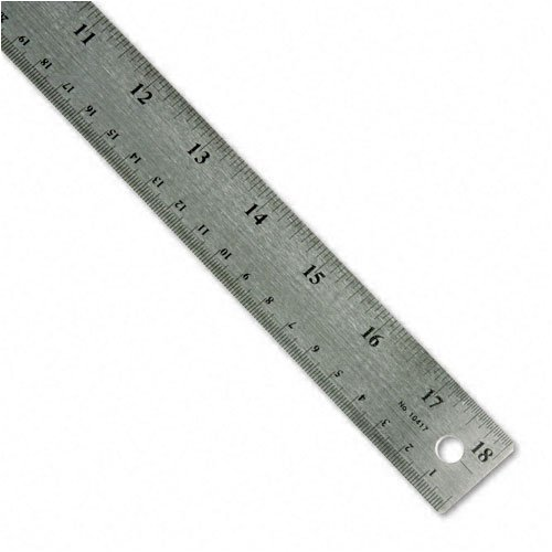 Westcott : Stainless Steel Ruler with Cork Back and Hang Hole, 18'', Silver -:- Sold as 2 Packs of - 1 - / - Total of 2 Each