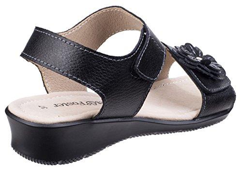 Black Womens Black 5 amp; UK Size Wedge Fleet Sandals Foster Leather Sapphire 48wnfOxq