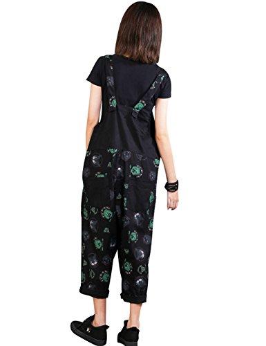 Zoulee Women Strap Rompers Jumpsuits Denim Casual Bib Pants Floral Wide Leg Cropped Pants Overalls Style 4 Black by Zoulee (Image #3)