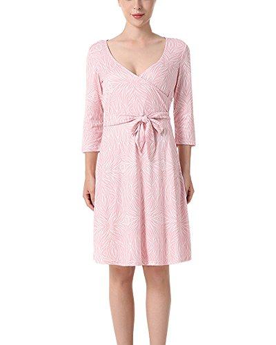 Para Fiesta Cordones Corto Estampado Mujer Cuello Vestido Vestido V Pink De UEnFqW5w