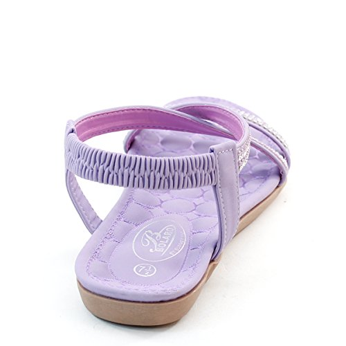 New Brieten Womens Comfort Rhinestone Elastic Ribbon Crisscross Flat Sandals Purple 870m2