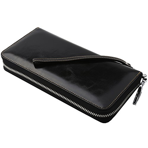 Dante-Womens-RFID-Blocking-Real-Leather-Zip-Around-Wallet-Clutch-Large-Travel-Purse-Wristlet