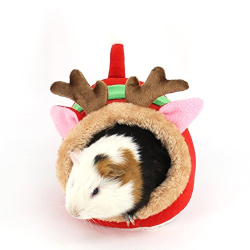 Small Animals Hamster Sleep Bed Cave Plush Warm House Sofa Cage Accessories for Hedgehog Dwarf Mouse Rabbit Totoro Guinea pigs Squirrels (S: 7″L x 6.6″W x 5.2″H, Red deer)