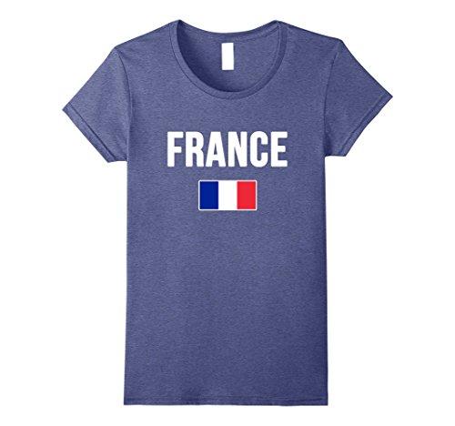 France Flag T-shirt (Womens France T-shirt French Flag . Medium Heather Blue)