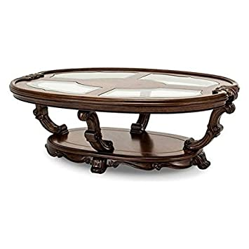 1PerfectChoice Hardwood Carving Espresso Finish Oval Glass Inserts Top Coffee Table