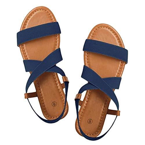 Per Donne Anti Peep Scarpe Elastico Slittamento Basse A Sandali Le Strap toe Pantofole ♫ Casual Vovotrade Spiaggia Cross Da Blu qgWfnYIY