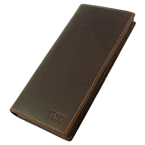 Fold Leather Bi Distressed (LXFF RFID Blocking Men's Genuine Leather Long Bifold Wallet With ID Window Vintage Brown)